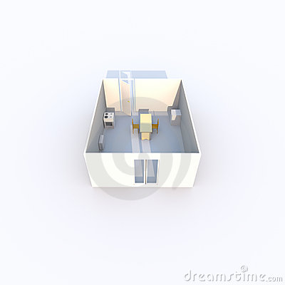 3D rendered kitchen
