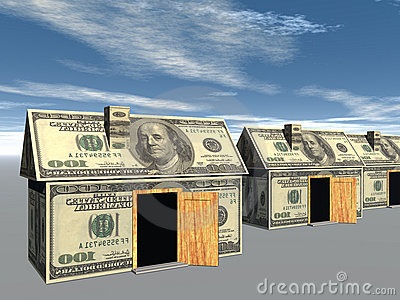 3D rendered street of money made houses