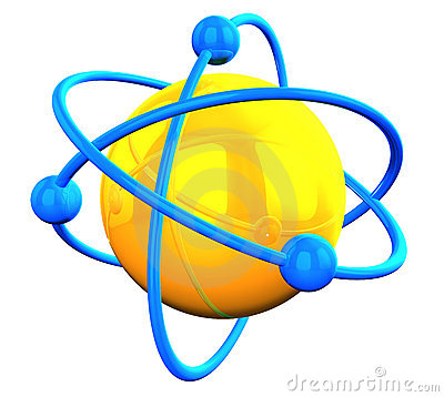 3D rendered yellow atom structure with