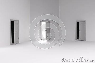 3d rendering of 3 doors