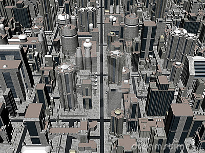3D rendering of a city