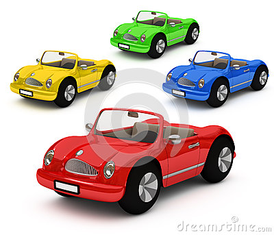 3d-rendering of colorful cars car