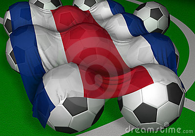 3D-rendering Costa Rica flag and soccer-balls