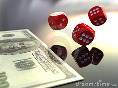 3D rendering dices and dollars