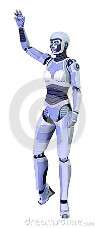 Free 3D Rendering Female Robot On White Royalty Free Stock Photos - 121647398
