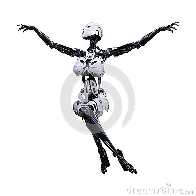 Free 3D Rendering Female Robot On White Royalty Free Stock Image - 130267826