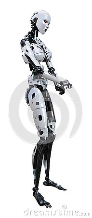 Free 3D Rendering Female Robot On White Stock Photography - 130281442