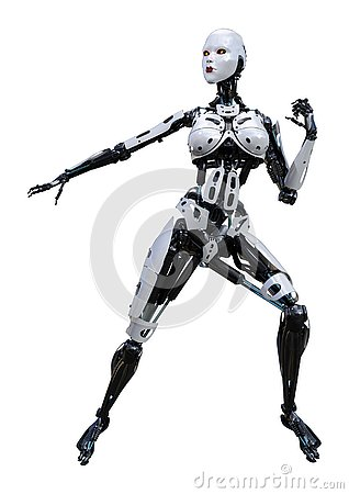 Free 3D Rendering Female Robot On White Royalty Free Stock Photography - 130281717