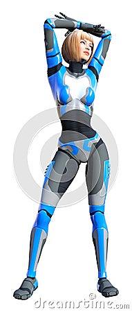 Free 3D Rendering Female Robot On White Royalty Free Stock Photos - 138111738