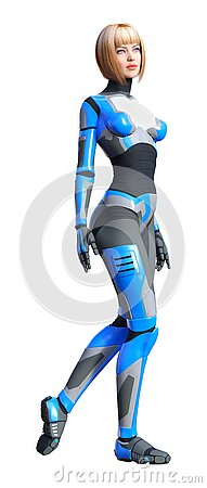 Free 3D Rendering Female Robot On White Stock Photo - 138111770