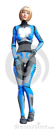 Free 3D Rendering Female Robot On White Royalty Free Stock Images - 138111809