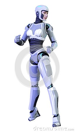 Free 3D Rendering Female Robot On White Royalty Free Stock Photos - 138450848