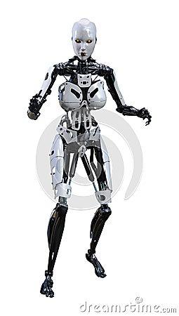 Free 3D Rendering Female Robot On White Stock Photos - 138643853