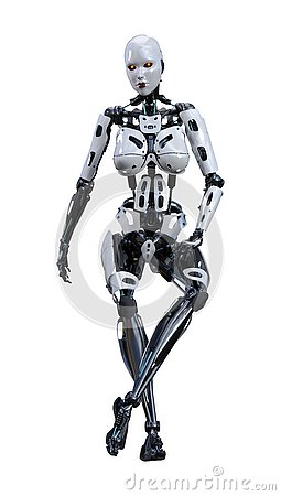 Free 3D Rendering Female Robot On White Royalty Free Stock Image - 138643926