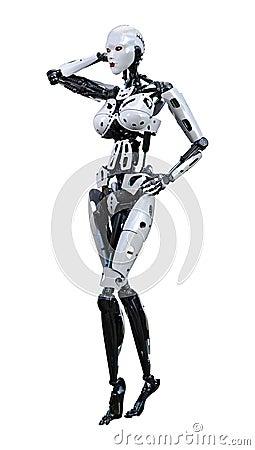 Free 3D Rendering Female Robot On White Royalty Free Stock Photos - 138644278