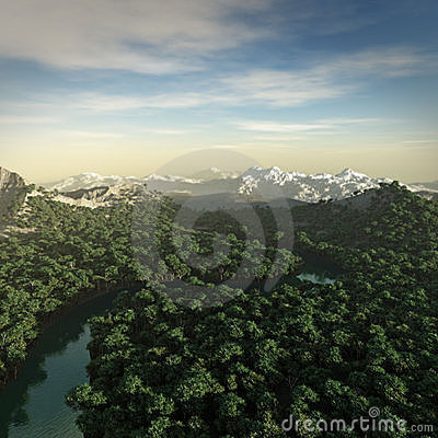 3D rendering of a fictional landscape.