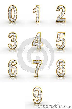 3D rendering of golden, silver numbers.