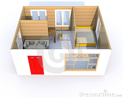 3D rendering of a little home