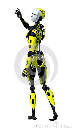 Free 3D Rendering Male Robot On White Stock Photos - 121496633