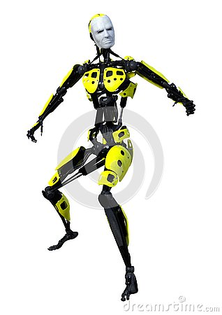 Free 3D Rendering Male Robot On White Stock Photography - 131049442