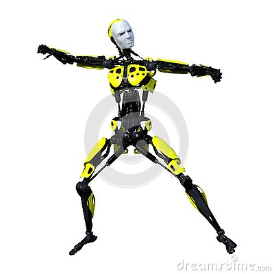 Free 3D Rendering Male Robot On White Stock Image - 131056891