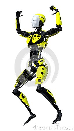 Free 3D Rendering Male Robot On White Stock Photos - 131056903