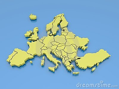 3d rendering of a map of Europe in Yellow