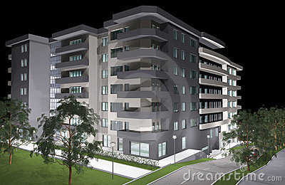 3D rendering of modern residential building
