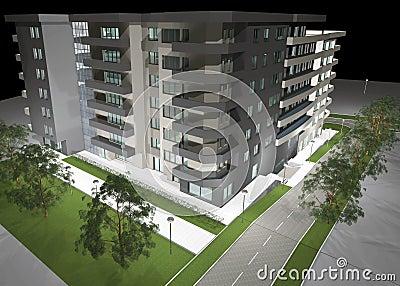 3D rendering of modern residential building