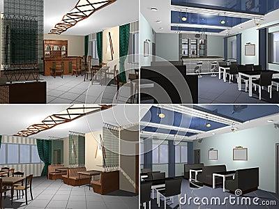 3D rendering Modern restaurant