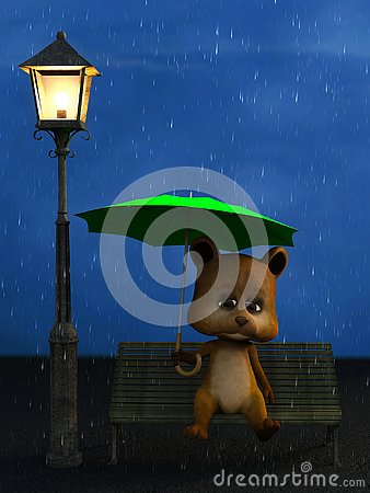 Free 3D Rendering Of A Cartoon Bear In The Rain At Night. Royalty Free Stock Images - 127362419
