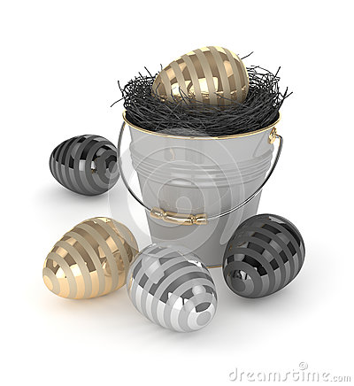Free 3d Rendering Of Easter Eggs With Decorative Bucket Royalty Free Stock Photo - 85540635