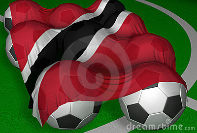 3D-rendering Trinidad and Tobago flag and soccer-balls
