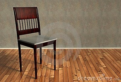3d renovated retro chair on wooden floor