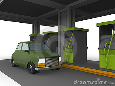 3D representation of a Car in a fuel station