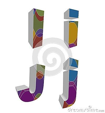 3D retro funky alphabets