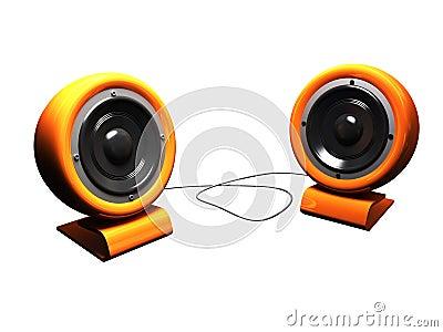 3d retro stereo speakers orange over white