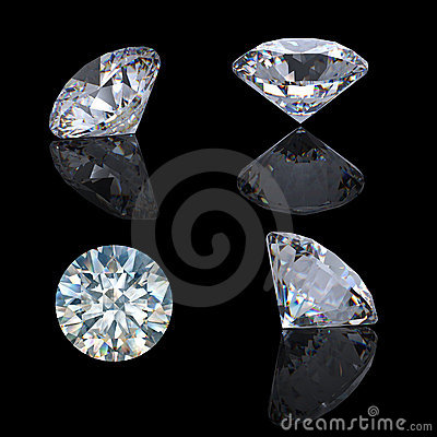 3d Round brilliant cut diamond perspective
