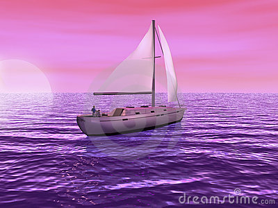 3D Sailboat with sun setting