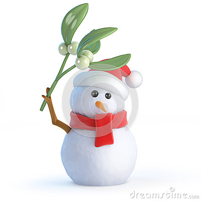 Free 3d Santa Snowman With Mistletoe Stock Image - 41144771
