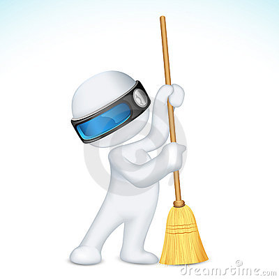3d Scalable Man with Broom Vector Illustration