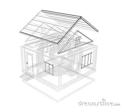 3d schets van een huis stock afbeelding afbeelding 5391111