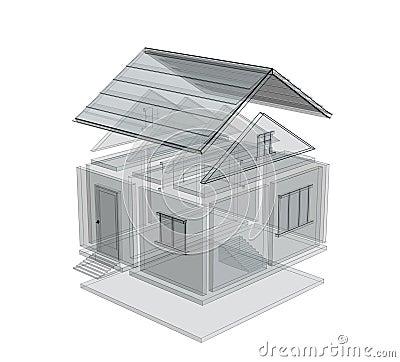 3d schets van een huis stock afbeelding beeld 5391201