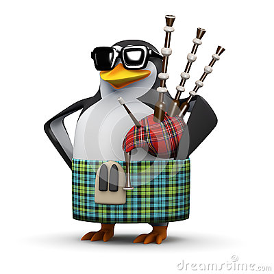 Free 3d Scottish Penguin Plays The Bagpipes Stock Images - 44515334