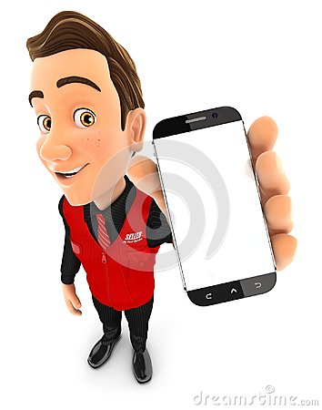 Free 3d Seller Holding Blank Smartphone Stock Photo - 104131420