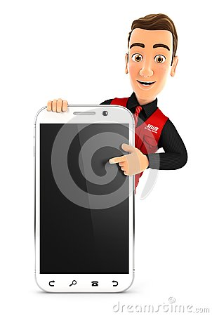 Free 3d Seller Pointing To Blank Smartphone Stock Photos - 107189393
