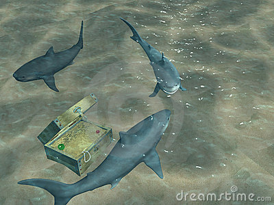 3d sharks floating above a chest with treasures