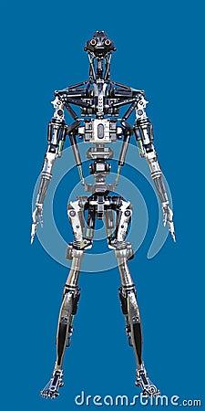 Free 3D Shiny Metal Standing Cyborg Robot Stock Photos - 117258273