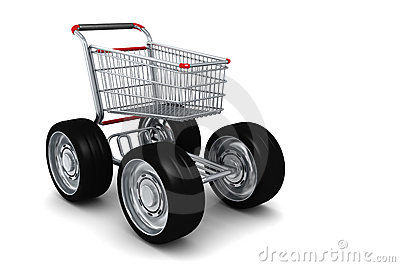 3d Shopping Cart With Big Wheels Icon Royalty Free Stock