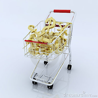 3d shopping cart with currency symbol